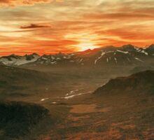 Mountain Land Bathing in Sunset Sticker