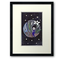 White Lily Moon Girl Framed Print