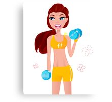 Cute blond fitness woman isolated on white Canvas Print