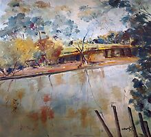 On the banks of the Goulburn River at Seymour VIC Australia by Margaret Morgan (Watkins)