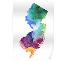 Watercolor Map of New Jersey, USA in Rainbow Colors - Giclee Print of My Own Watercolor Painting Poster