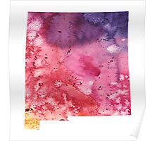 Watercolor Map of New Mexico, USA in Orange, Red and Purple - Giclee Print of my Own Painting Poster