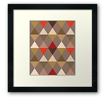 Harlequin Pattern, Taupe and Red Framed Print
