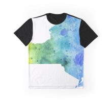 Watercolor Map of New York, USA in Blue and Green - Giclee Print of My Own Watercolor Painting Graphic T-Shirt
