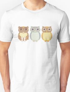 Fluffy Dog and Owl Cousins Unisex T-Shirt