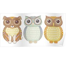 Fluffy Dog and Owl Cousins Poster