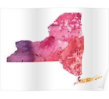 Watercolor Map of New York, USA in Orange, Red and Purple - Giclee Print of my Own Painting Poster