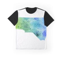 Watercolor Map of North Carolina, USA in Blue and Green - Giclee Print of My Own Watercolor Painting Graphic T-Shirt