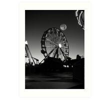 Ferris Wheel With Full Moon Art Print