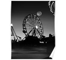 Ferris Wheel With Full Moon Poster