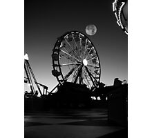 Ferris Wheel With Full Moon Photographic Print