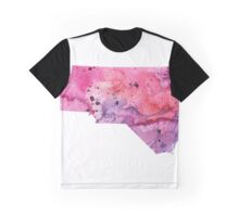 Watercolor Map of North Carolina USA in Pink and Purple - Giclee Print of My Own Watercolor Painting Graphic T-Shirt