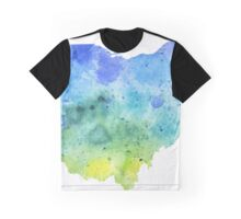 Watercolor Map of Ohio, USA in Blue and Green - Giclee Print of My Own Watercolor Painting Graphic T-Shirt