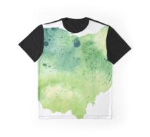 Watercolor Map of Ohio, USA in Green - Giclee Print My Own Watercolor Painting Graphic T-Shirt