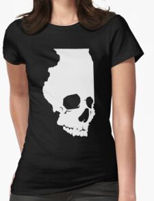 Skullinois On Black Shirts Womens Fitted T-Shirt