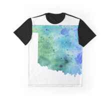 Watercolor Map of North Dakota, USA in Blue and Green - Giclee Print of My Own Watercolor Painting Graphic T-Shirt