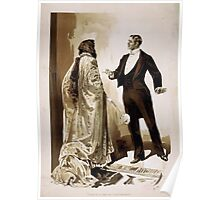 Performing Arts Posters Man in tuxedo questioning woman in cloak gloves 1543 Poster