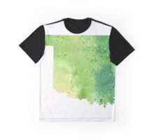 Watercolor Map of Oklahoma, USA in Green - Giclee Print My Own Watercolor Painting Graphic T-Shirt