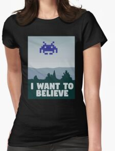 X Files - I want to believe 8 bit retro Womens Fitted T-Shirt
