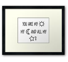 Sun, Moon, & Star Embroidery Framed Print