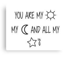 Sun, Moon, & Star Embroidery Canvas Print