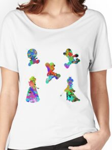 Mario 3D World Paint Splatter White Women's Relaxed Fit T-Shirt