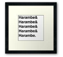 Harambe Helvetica  Framed Print