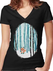 Fox in the Forest Women's Fitted V-Neck T-Shirt