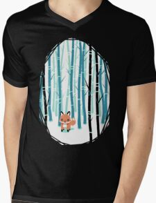 Fox in the Forest Mens V-Neck T-Shirt