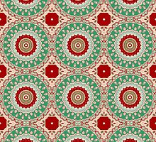 Red, Green & Aqua Kaleidoscope Flowers by Mercury McCutcheon