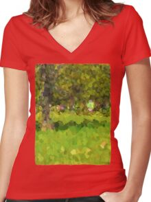 Riding Around the Park Women's Fitted V-Neck T-Shirt