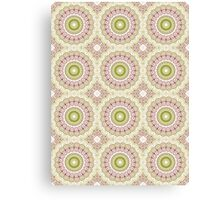 Dusty Rose and Olive Green Kaleidoscope Flowers Canvas Print