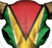 Guyanese Flag Bull Skull  Sticker