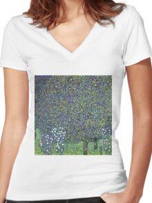 Gustav Klimt - Roses Under The Trees  Women's Fitted V-Neck T-Shirt
