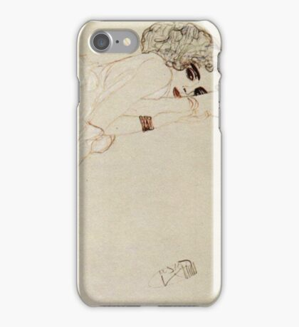 Gustav Klimt - Reclining Nude Lying On Her Stomach And Facing Right iPhone Case/Skin