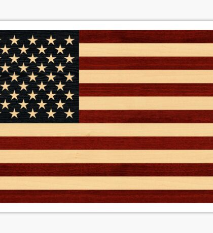 USA FLAG WOOD Sticker