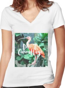 Don't Camouflage Women's Fitted V-Neck T-Shirt