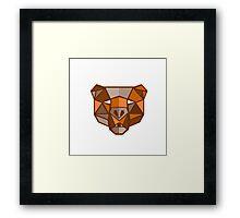 Brown Bear Head Low Polygon Framed Print