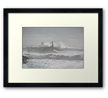 Winter Waves on Jetty Framed Print
