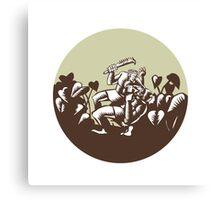 Samoan Losi Club Nifo'oti Weapon Circle Woodcut Canvas Print