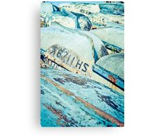 Brightly coloured fishing boats Canvas Print