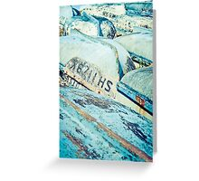 Brightly coloured fishing boats Greeting Card