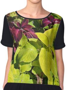 Colorful green leaves pattern Chiffon Top