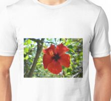 Red hibiscus flower and green leaves background Unisex T-Shirt