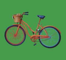 Old icelandic bicycle on green flash Kids Tee