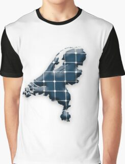 Map of the Netherlands with photovoltaic solar panels.  Graphic T-Shirt