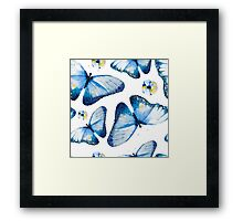 Beautiful big butterflies and pansies in blue tones, fun bold animal print design in blue and pale yellow, classic statement fashion clothing, soft furnishings and home decor  Framed Print