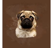 Pug Dog Water Color Art Painting Photographic Print