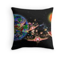 Galactic Cruisers and Escorts Leaving Planet Shypsoaria Throw Pillow