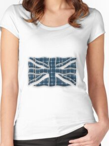 Union Jack with photovoltaic solar panels. Women's Fitted Scoop T-Shirt